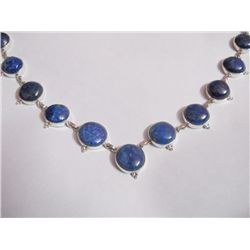 NATURAL 242.50 CTW LAPIS ROUND NECKLACE .925 STERLING S
