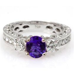 Genuine Tanzanite 2.09 ctw & Diamond Ring 14K