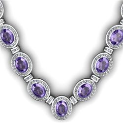 Certified 38.60 ctw Tanzanite Diamond Necklace 14k