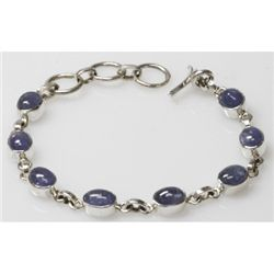 Natural 65.30 CTS. Tanzanite Bracelet .925 Sterling Sil