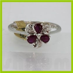 Genuine 0.57 ctw Ruby & Diamond Ring 14KT White Gold