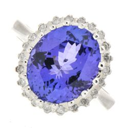 Genuine Tanzanite (Zoisite) 4.95 ctw & Diamond Ring 14K