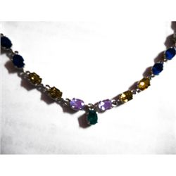 Natural 35 ctw Multi-Sapphire .925 Sterling Necklace