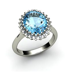 Aqua Marine 4.72 ctw & Diamond Ring 18kt W/Y Gold