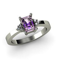 Genuine 0.61 ctw Amethyst Diamond Ring 10k