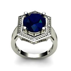 Genuine 6.08 ctw Sapphire Diamond Ring W/Y Gold 14kt