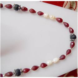 Natural 209.70 ctw Ruby/Sapphire Pearl Necklace 925 Ste