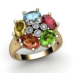 Genuine 2.73 ctw 14k Multi-Color Gemstone Diamond Ring