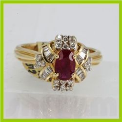 Genuine 1.27 ctw Ruby & Diamond Ring 14KT Yellow Gold