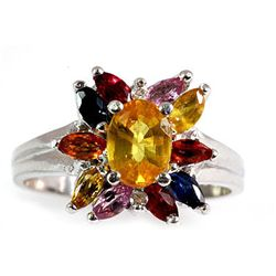 GenuineYellow Sapphire 1.2 ctw Diamond Ring 14k
