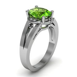 Genuine 1.41 ctw Peridot Diamond Ring W/Y Gold 14kt