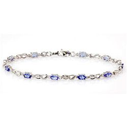 Genuine Tanzanite (Zoisite)2.52Ctw Diamond Bracelet 10K