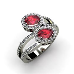 Ruby 1.53 ctw & Diamond Ring 14kt W/Y Gold