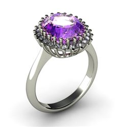Amethyst 4.72 ctw & Diamond Ring 18kt W/Y Gold