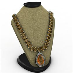 Citrine 52.00 ctw & Diamond Necklace 14kt White or Yell