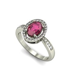 Ruby 1.80 ctw & Diamond Ring 18kt W/Y Gold