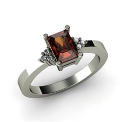Genuine 0.86 ctw Garnet Diamond Ring 10k