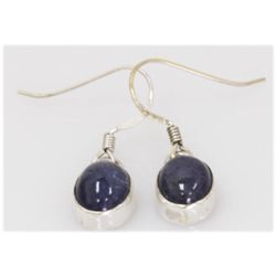 NATURAL 16.59 CTW TANZANITE OVAL EARRING .925 STERLING