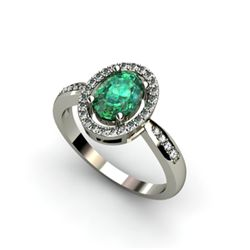 Emerald 1.51 ctw & Diamond Ring 14k tW/Y Gold
