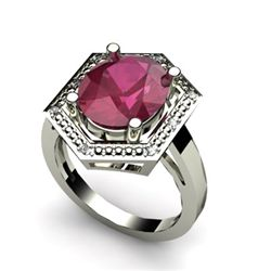 Genuine 6.08 ctw Ruby Diamond Ring Whte/Yllw Gold 10kt