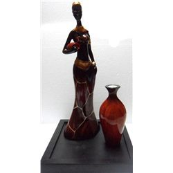 DECORATIVE BIG AFRICAN WOMAN CANDLE SET
