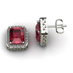 Genuine 3.70 ctw Garnet Diamond Earring 14k W/Y Gold