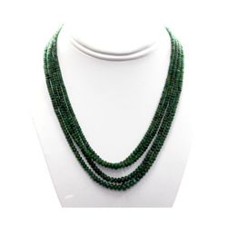 Natural Emerald Round Beads Necklace 240.85 ctw. w/bra
