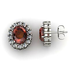 Genuine 3.34 ctw Garnet Diamond Earring 10k W/Y Gold