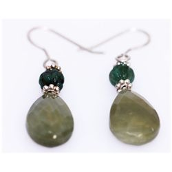 NATURAL 24.00 CTW EMERALD/SEMIPRECIOUS EARRING .925 STE