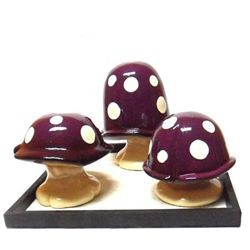DECORATIVE PURPLE MUSHROOMS CANDLE SET
