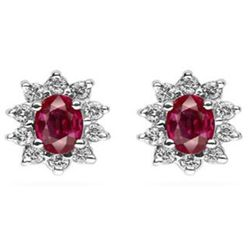 Genuine 1.50 ctw Ruby Earring 14k 1.9g