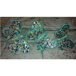 GREEN AND MULTICOLOR BLOWN GLASS BUTTERFLIES SET