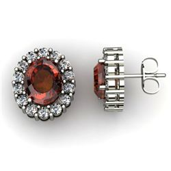 Genuine 3.34 ctw Garnet Diamond Earring 14k W/Y Gold