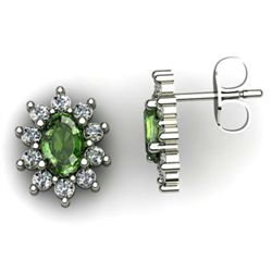 Genuine 2.99 ctw Green Tourmaline Diamond Earring 10k