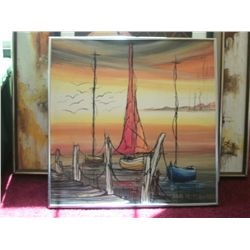 1972 SIGNED ORIGINAL OIL PAINTING OF HARBOR WITH DISTANT ISLAND