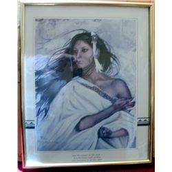 VINTAGE 1987 FRAMED PRINT      BEAUTIFUL NATIVE AMERICAN WOMAN   BY ARTIST PENNI ANN CROSS - SKP678