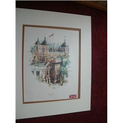 "FRAMED MATTED WOOD AND GLASS POSTER OF TOWER OF LONDON BY ERIC MASON  25""X 21"""