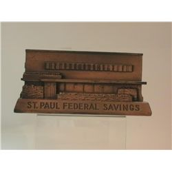 VINTAGE/ANTIQUE METAL BANK  MADE BY BANTHRICO FOR  ST PAUL FEDERAL SAVINGS OF CHICAGO