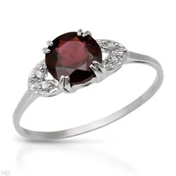 Sterling Silver Ring with Diamonds and Rhodolite Garnet .925 SS