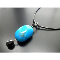 BLACK GLASS  BEADS & COPPER TURQUOISE  GEMSTONE PENDANT WITH A STERLING CLASP