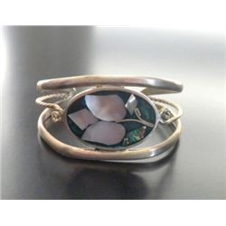 VINTAGE ALPACA SILVER ABALONE MOTHER OF PEARL CUFF BRACELET