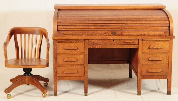 Image 1 Tiger Oak Roll Top Desk Chair