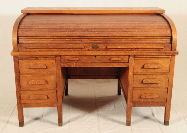 ... Image 2 : Tiger Oak Roll Top Desk & Chair ... - Tiger Oak Roll Top Desk & Chair