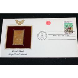 1980 First Day of Issue 22K Gold Replica Stamp W/Postal Stamp; Coral Reefs Finger Coral: Hawaii