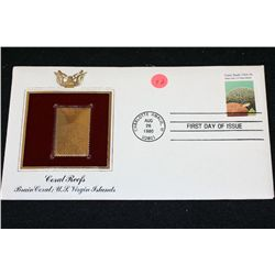 1980 First Day of Issue 22K Gold Replica Stamp W/Postal Stamp; Coral Reefs Brain Coral: U.S. Virgin