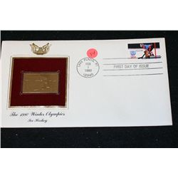 1980 First Day of Issue 22K Gold Replica Stamp W/Postal Stamp; The 1980 Winter Olympics Ice Hockey