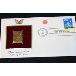 1981 First Day of Issue 22K Gold Replica Stamp W/Postal Stamp; Space Achievement Exploring the Moon