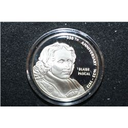 Sterling Silver Round; 350th Anniversary of Birth of Blaise Pascal-Scientist, Mathematician, Religio