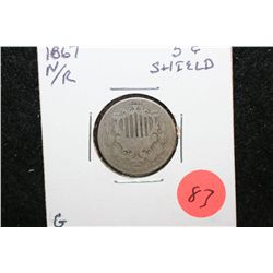 1867 Shield Nickel No Rays; G