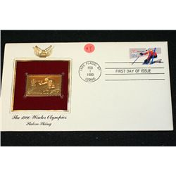 1980 First Day of Issue 22K Gold Replica Stamp W/Postal Stamp; The 1980 Winter Olympics Slalon Skiin